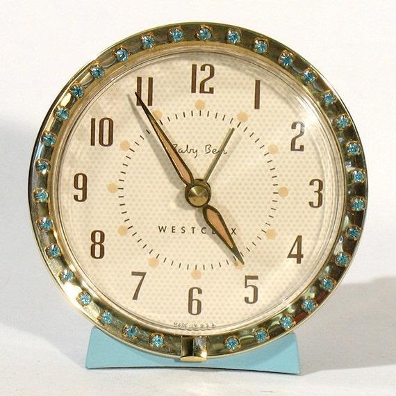 Vintage Baby Ben Westclox Blue Aqua Alarm Clock w/ Rhinestones Wind-Up