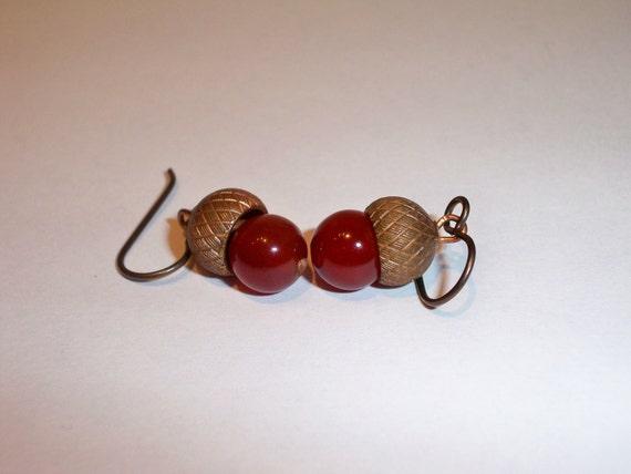 RESERVED for: Trendsestting Team Scavenger Hunt 8 Winner - Acorn earrings - Fall Earring Series