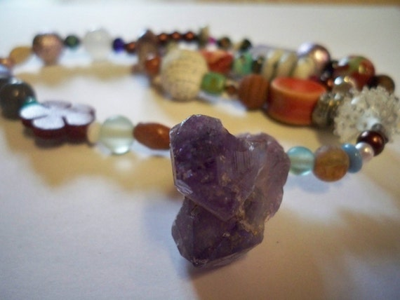 Amethyst crystal funky chunky choker necklace