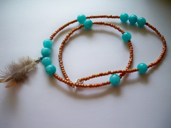 Robin egg blue dyed Jade, feather, and rustic gold seed bead Necklace - Excellent Value