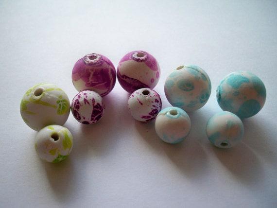 Resin pastel bead lot: robin egg blue, magenta purple, lime green swirls - light weight resin beads