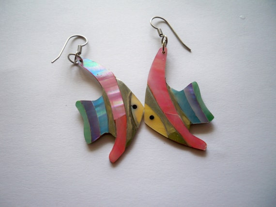 Vintage fish pastel earrings- rainbow fish- light weight perfect for spring and summer - PRICE REDUCED