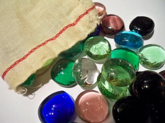 RESERVED Vintage Mancala Gems and Bag