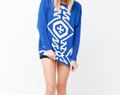 Vintage 80s Sodalite Blue Knit Sweater - Long Sleeve Nautical Sweater