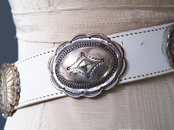 Vintage 90s White Leather Studded Belt -Western Cowgirl - Cowhide - Made in USA - size 30