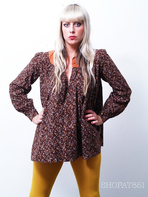 Vintage Chocolate Brown Floral Peasant Blouse Tunic
