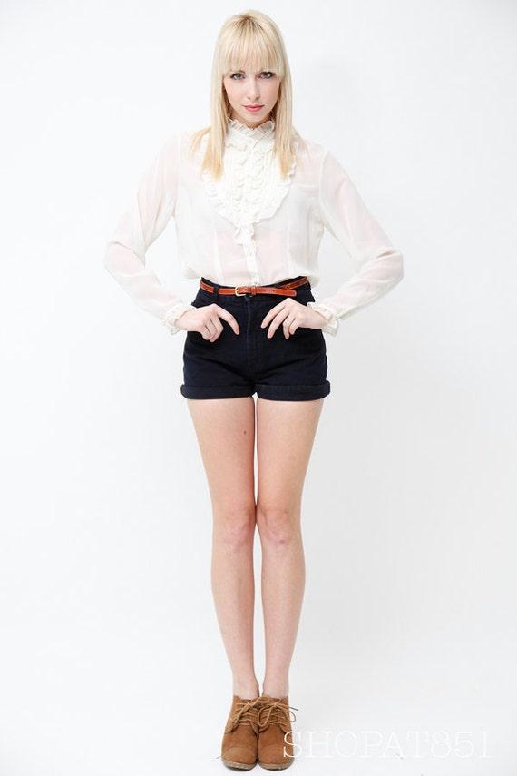 Vintage 70s Sheer White Tuxedo Blouse - Shabby Chic -Victorian Ruffle Bib - Pleated Bib Collar