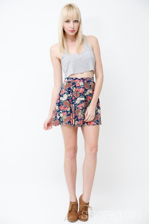 Vintage 90s High Waisted Floral Paisley Mini Skirt