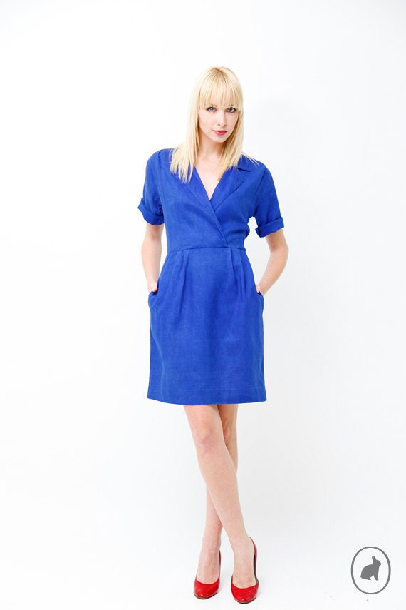 Vintage 80s Sodalite Blue Day Dress Fitted Nautical by ...