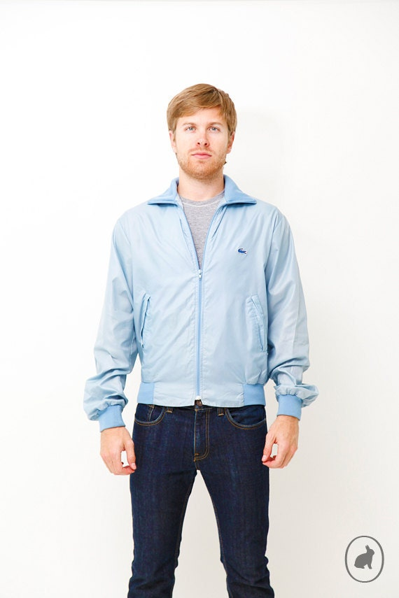 Vintage 80s Lacoste Baby Blue Jacket - Wind Breaker Coat - Medium