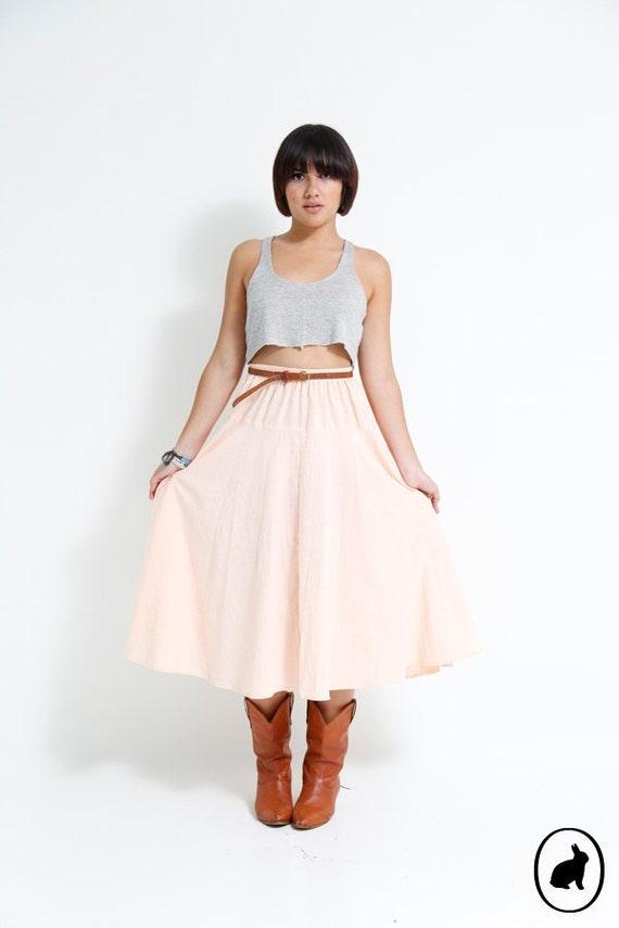 Vintage 90s Pale Peach Midi Skirt - Full Circle Rodeo Skirt - Summer Fashion - Size Medium - Made in USA