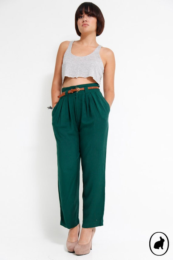 Vintage 80s High Waisted Harem Pants Emerald Green by SHOPAT851