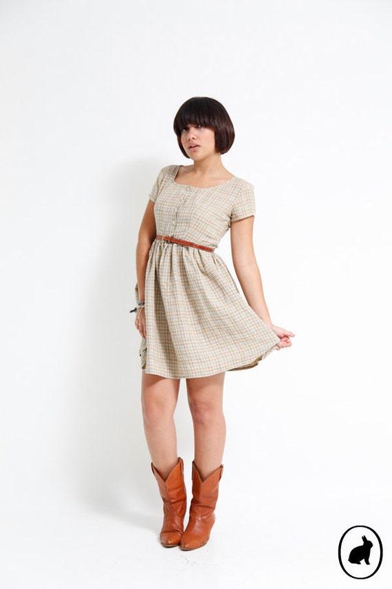 Vintage 90s Tan Nude Designer Mini Dress - Country Chic - Banana Republic Sundress - US size 4
