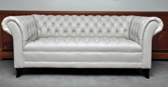 Items similar to Vintage Cream Chesterfield Sofa on Etsy