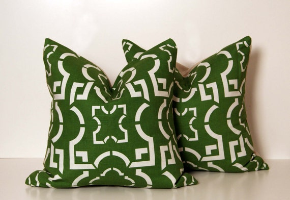Two Kelly Green Geo Pillows