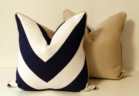 Deep Blue and White Chevron Pillow