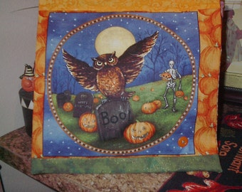 "14"" x 14"" PILLOW COVER - Autumn Night at Skeleton Farmer's Pumpkin Patch Owl"