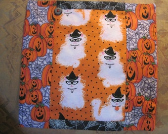 """14"""" x 14"""" PILLOW COVER -  Costumed Halloween Soft White Kitty Cats with Black Hats Masks"""