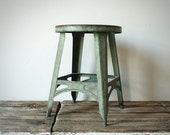 Small Green Industrial Stool