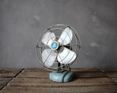 Small Vintage Blue & Silver Wizard Fan