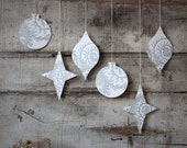 Letterpress Holiday Ornaments in Silver, Set of 6