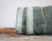 Vintage Military Wool Blanket, Green With White Stripe