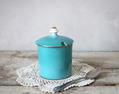 Turquoise Sugar Bowl with Gold Trim