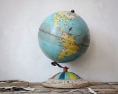Vintage Replogle Tin Air Race Globe & World City Tags : Traveler Gift Set