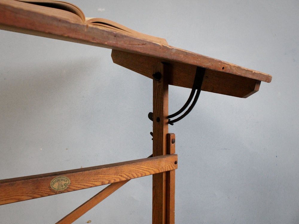 brooklyn wooden vintage drafting table by jerseyicecreamco