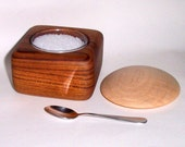 Lift Top Salt, Pepper, Dried Herb or Spice Rub Keeper with Mini Spoon (Teak, Curly Maple and Glass)