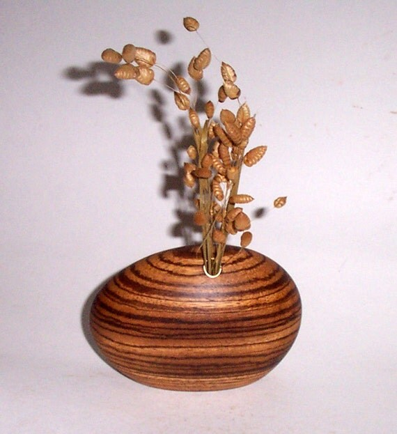 Dried Weed or Flower Vase (African Zebrawood)