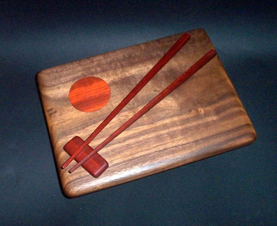 "Sushi Serving Board  with  Japanese  Chopsticks and Rest or  "" Hashi and Hashi Oki ""  (American Black Walnut and African Padauk)"