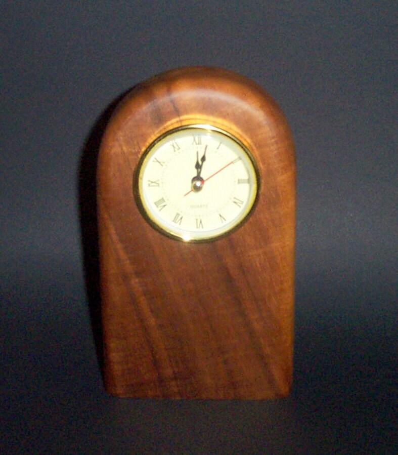 Contemporary Desk Clock Hawaiian Koa by coloniewoodcrafter