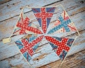 LACE and UNION JACK cotton fabric bunting floral British Theme Jubilee