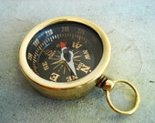 one Large solid brass pocket / pendant compass charm