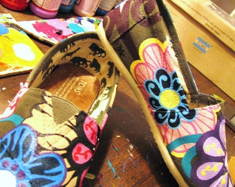"Hand Painted TOMS Classic Canvas ""Fresh From The Garden: Round III"" Custom Slip-Ons"