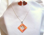 Heart Love Copper Sterling Silver Jewelry Set