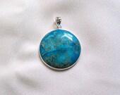 Blue Sea Sediment Jasper and Silver Pendant