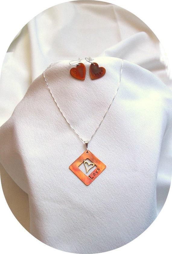 Heart Love Copper Sterling Silver Jewelry Set