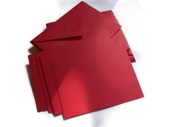 Christmas Red Blank DIY Card Set -  Stationery Set - Party Invitations - 25 Cards