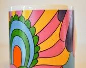 Vintage Flower Power West German Coffee Cup -- Peter Max-like Design Mug