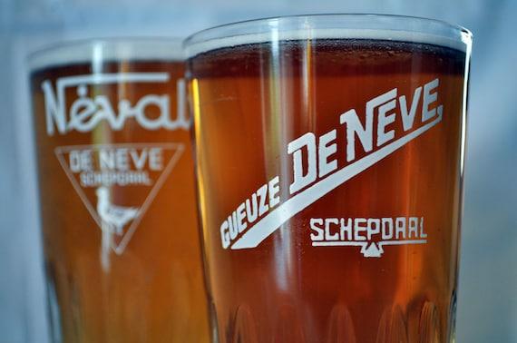 Vintage Belgian Gueuze Beer Glasses -- Set of 2  Brewery De Neve