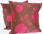 Pair of recycled cushions, pillows, chocolate brown with pink flowers, modern, eco friendly