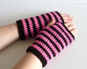 Crochet wrist warmers fingerless gloves hot pink and black stripe