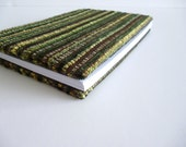 Recycled notebook or journal with chocolate brown and green cover, eco friendly