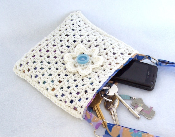 Crochet mini purse, white with blue flower lining, recycled, eco ...