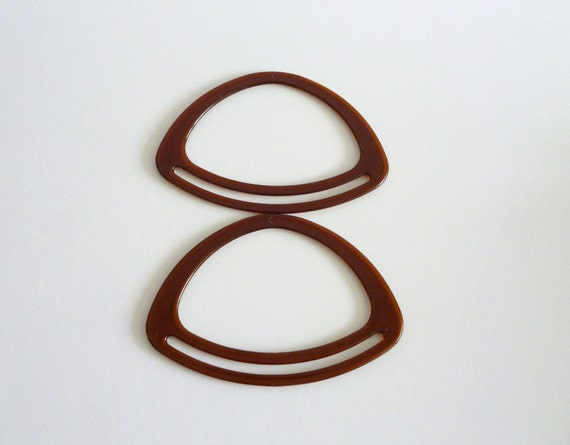 bag handles - amber acrylic -  oval - 8 inches - perfect for recycling fabric