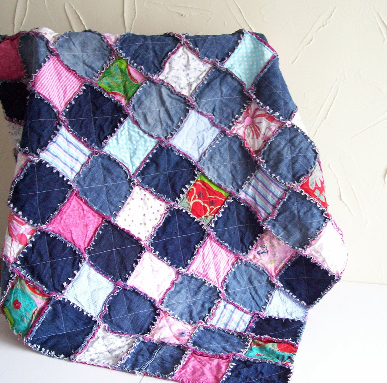 Denim rag quilt tutorial PDF pattern - picnic blanket - recycled ... : rug quilt - Adamdwight.com
