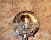Wall Light-Sconce-Electric-Glass Bobeche-Shiny Aluminum-Vintage-Retro-Mid-Century-Atomic Age.