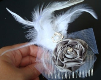 Wedding Feather Fascinator On Clear Comb-Grey Satin Rose-Faux Diamonds And Pearls-